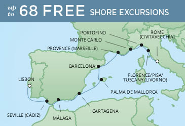 Regent Cruises | 12-Nights from Rome to Lisbon Cruise Iinerary Map