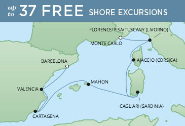 Regent Cruises | 7-Nights from Monte-Carlo to Barcelona Cruise Iinerary Map