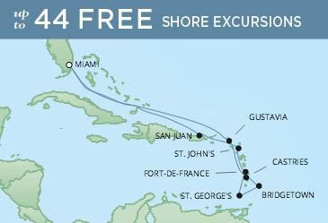 Regent Cruises | 12-Nights Roundtrip from Miami Cruise Iinerary Map