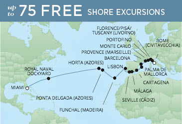 Regent Cruises | 26-Nights from Rome to Miami Cruise Iinerary Map