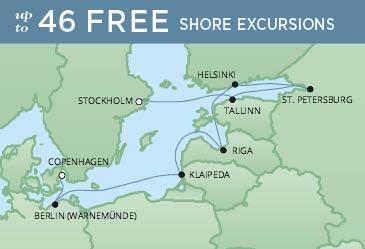 Regent Cruises | 10-Nights from Copenhagen to Stockholm Cruise Iinerary Map