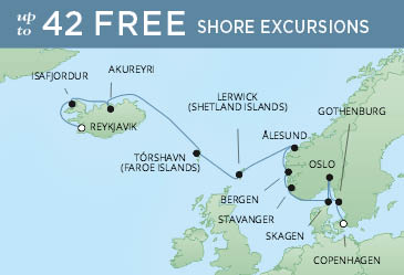 Regent Cruises | 12-Nights from Reykjavik to Copenhagen Cruise Iinerary Map