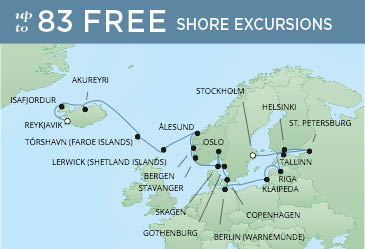 Regent Cruises | 22-Nights from Reykjavik to Stockholm Cruise Iinerary Map
