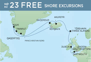 Regent Cruises | 15-Nights from London to Reykjavik Cruise Iinerary Map