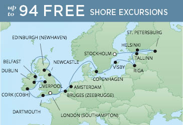 Regent Cruises | 22-Nights from Stockholm to London Cruise Iinerary Map