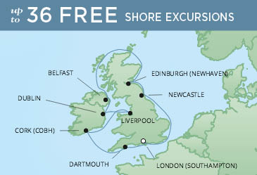 Regent Cruises | 10-Nights Roundtrip from London Cruise Iinerary Map