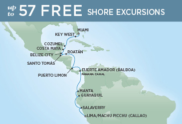 Regent Cruises | 18-Nights from Miami to Lima Cruise Iinerary Map
