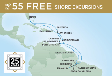 Regent Cruises | 25-Nights Roundtrip from Miami Cruise Iinerary Map