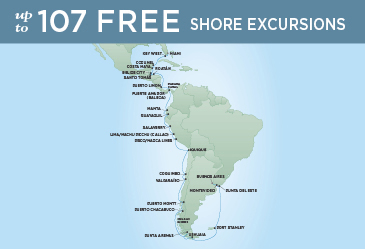 Regent Cruises | 39-Nights from Miami to Buenos Aires Cruise Iinerary Map