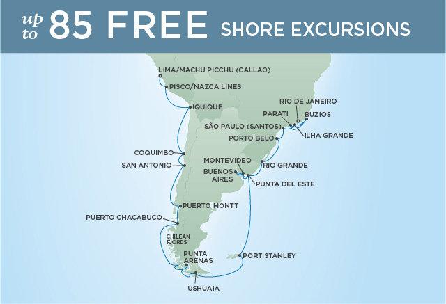Regent Cruises | 33-Nights from Lima to Rio de Janeiro Cruise Iinerary Map