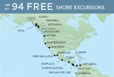 Regent Cruises | 28-Nights from Miami to Vancouver Cruise Iinerary Map
