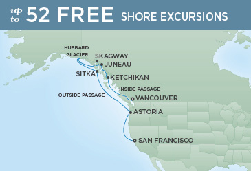 Regent Cruises | 10-Nights from San Francisco to Vancouver Cruise Iinerary Map