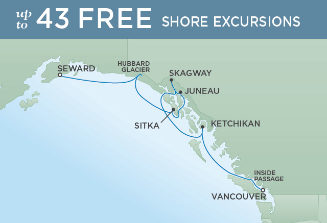 Regent Cruises   7-Nights from Anchorage to Vancouver Cruise Iinerary Map