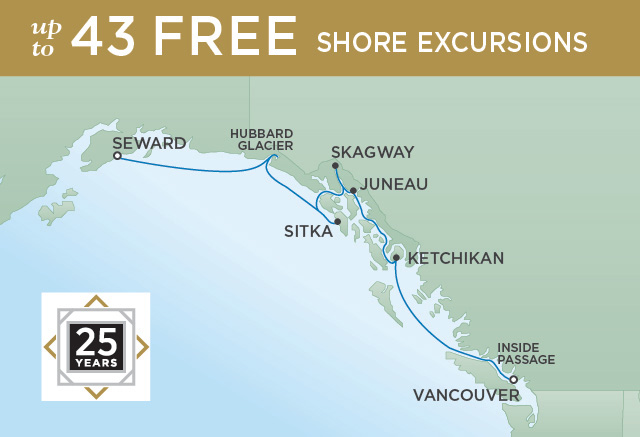 Regent Cruises   7-Nights from Vancouver to Anchorage Cruise Iinerary Map