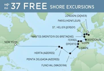 Regent Cruises | 21-Nights from London to New York Cruise Iinerary Map