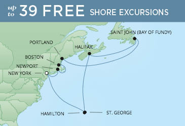 Regent Cruises | 12-Nights Roundtrip from New York Cruise Iinerary Map