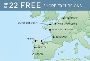 Regent Cruises | 10-Nights from London to Lisbon Cruise Iinerary Map