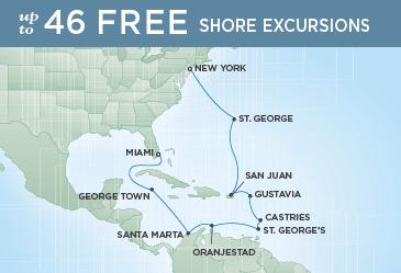 Regent Cruises   15-Nights from New York to Miami Cruise Iinerary Map