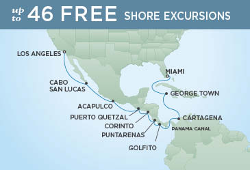 Regent Cruises | 16-Nights from Miami to Los Angeles Cruise Iinerary Map