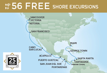 Regent Cruises | 22-Nights from Miami to Vancouver Cruise Iinerary Map