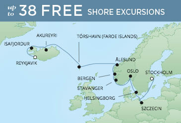 Regent Cruises | 13-Nights from Reykjavik to Stockholm Cruise Iinerary Map