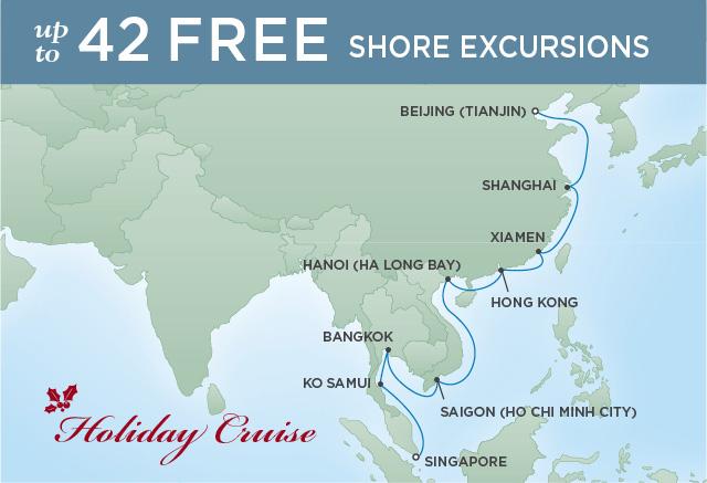 Regent Cruises | 19-Nights from Beijing to Singapore Cruise Iinerary Map