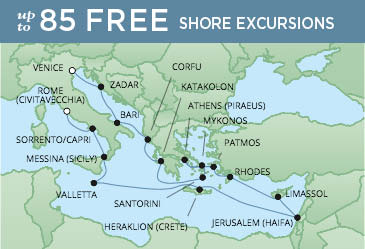 Regent Cruises | 19-Nights from Venice to Rome Cruise Iinerary Map