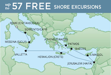 Regent Cruises | 12-Nights from Athens to Rome Cruise Iinerary Map
