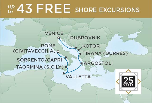 Regent Cruises | 10-Nights from Rome to Venice Cruise Iinerary Map