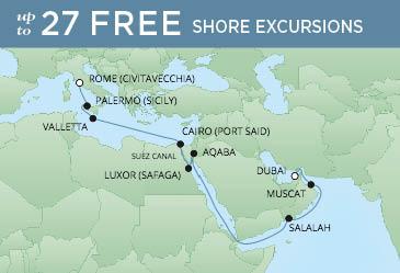 Regent Cruises | 18-Nights from Rome to Dubai Cruise Iinerary Map