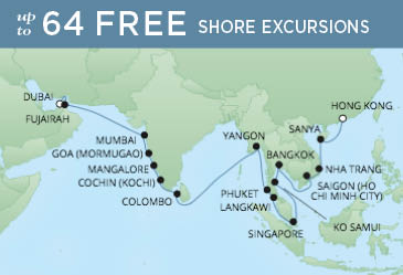 Regent Cruises | 33-Nights from Dubai to Hong Kong Cruise Iinerary Map