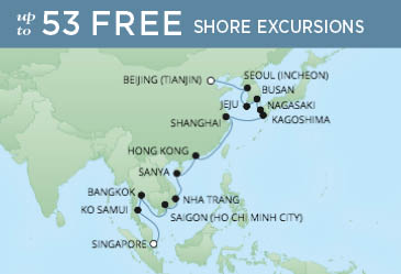 Regent Cruises | 24-Nights from Singapore to Beijing Cruise Iinerary Map