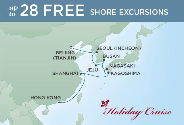 Regent Cruises | 12-Nights from Hong Kong to Beijing Cruise Iinerary Map