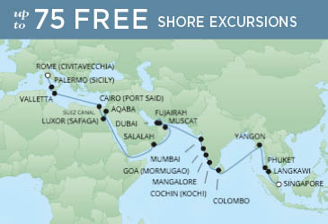 Regent Cruises | 39-Nights from Rome to Singapore Cruise Iinerary Map