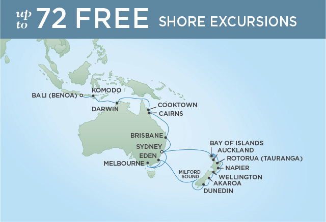 Regent Cruises | 32-Nights from Sydney to Bali Cruise Iinerary Map