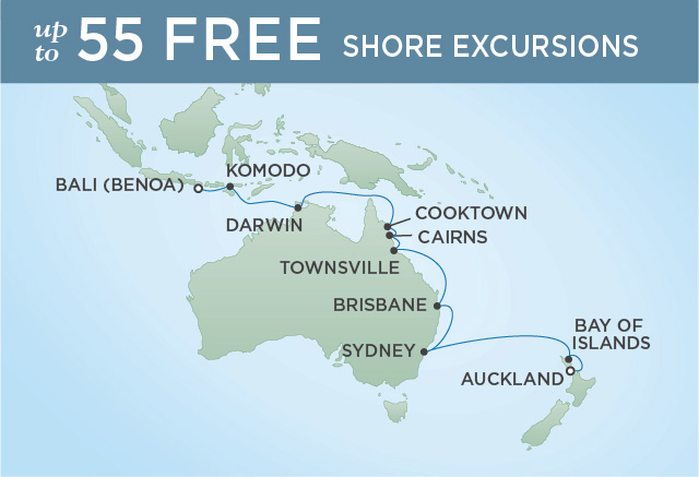 Regent Cruises | 18-Nights from Auckland to Bali Cruise Iinerary Map