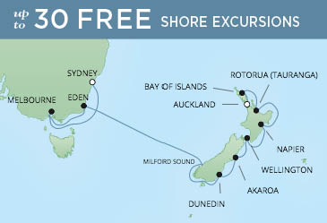 Regent Cruises | 14-Nights from Sydney to Auckland Cruise Iinerary Map
