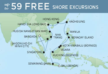 Regent Cruises | 29-Nights from Bali to Bangkok Cruise Iinerary Map