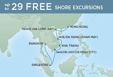 Regent Cruises | 14-Nights from Hong Kong to Bangkok Cruise Iinerary Map