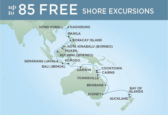 Regent Cruises | 33-Nights from Auckland to Hong Kong Cruise Iinerary Map