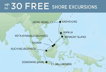 Regent Cruises | 15-Nights from Bali to Hong Kong Cruise Iinerary Map