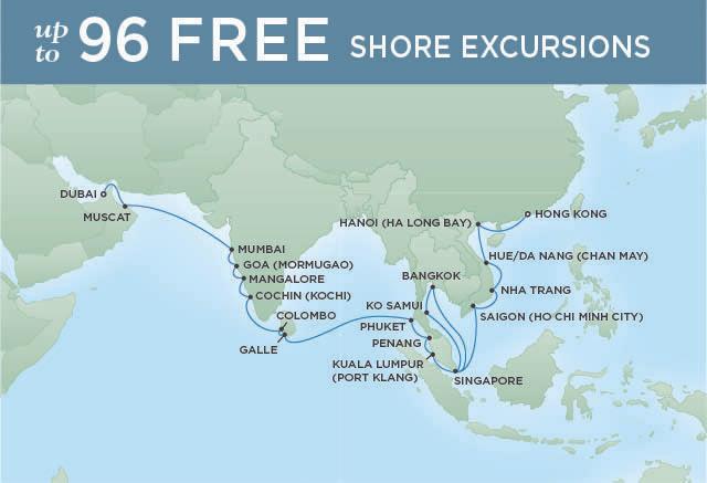 Regent Cruises   34-Nights from Hong Kong to Dubai Cruise Iinerary Map