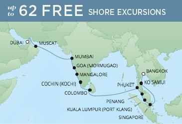 Regent Cruises | 20-Nights from Bangkok to Dubai Cruise Iinerary Map