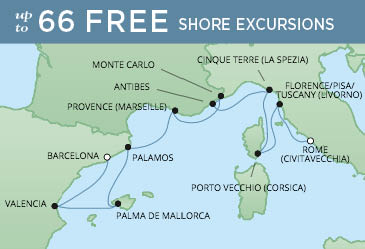 Regent Cruises | 10-Nights from Barcelona to Rome Cruise Iinerary Map