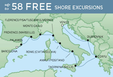 Regent Cruises | 10-Nights from Venice to Barcelona Cruise Iinerary Map