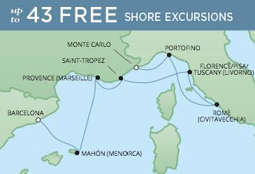 Regent Cruises | 7-Nights from Barcelona to Monte-Carlo Cruise Iinerary Map