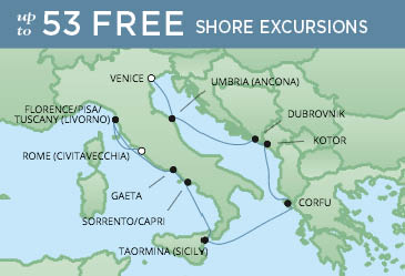 Regent Cruises | 10-Nights from Rome to Venice Cruise Iinerary Map