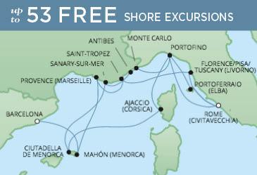 Regent Cruises | 14-Nights from Barcelona to Rome Cruise Iinerary Map