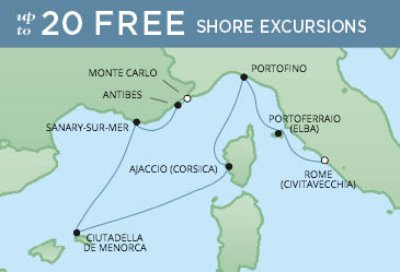 Regent Cruises | 7-Nights from Monte-Carlo to Rome Cruise Iinerary Map