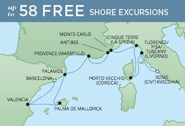 Regent Cruises   10-Nights from Rome to Barcelona Cruise Iinerary Map